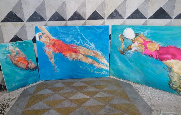 Schwimmerinen Ausstellung Kirchenatelier Link - Künstlerin Mo Kilders 2019 II